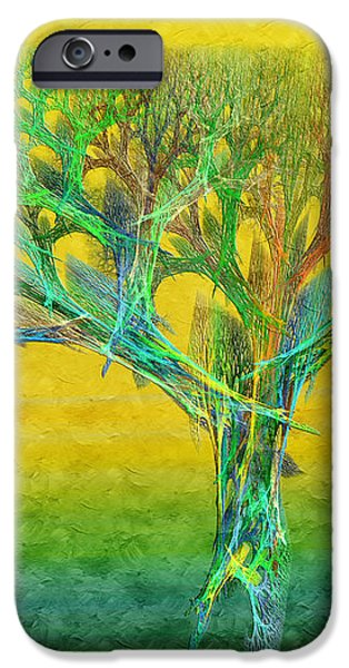 The Tree In Summer At Sunrise - Painterly - Abstract - Fractal Art iPhone Case by Andee Design