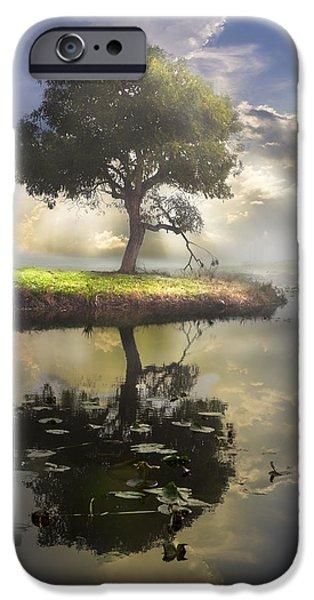 Fog Mist iPhone Cases - The Tree of Living Waters iPhone Case by Debra and Dave Vanderlaan