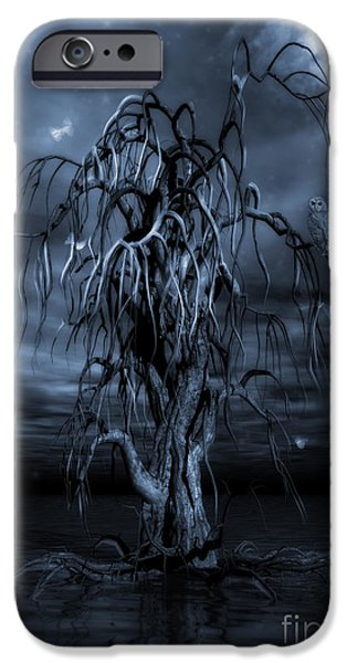 Colored Owls iPhone Cases - The Tree of Sawols Cyanotype iPhone Case by John Edwards