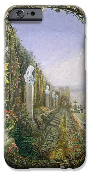 Statue Portrait Drawings iPhone Cases - The Trellis Window Trengtham Hall Gardens iPhone Case by E Adveno Brooke