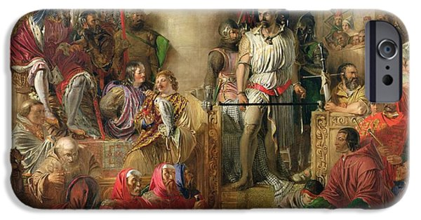 Scottish Dog iPhone Cases - The Trial Of Sir William Wallace At Westminster Oil On Canvas iPhone Case by William Bell Scott