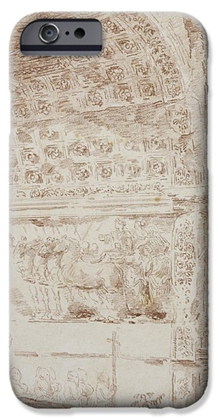 Pillar iPhone Cases - The Triumph Of Rome, Arc Of Titus Red Chalk On Paper iPhone Case by Hubert Robert