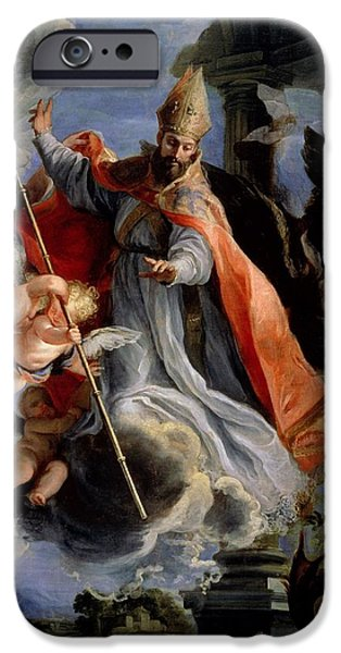 Statue Portrait iPhone Cases - The Triumph Of St. Augustine 354-430 1664 Oil On Canvas iPhone Case by Claudio Coello