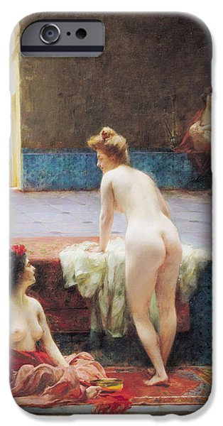 Harem Photographs iPhone Cases - The Turkish Bath, 1896 Oil On Canvas iPhone Case by Serkis Diranian