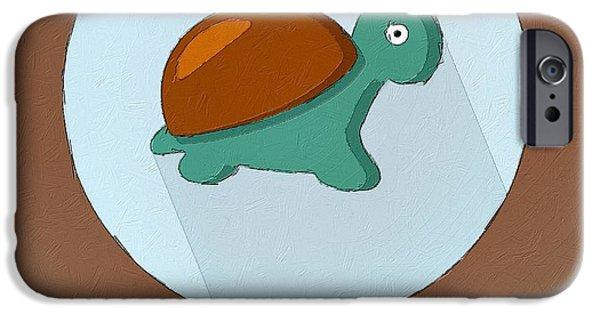 Reptiles Digital iPhone Cases - The Turtle Cute Portrait iPhone Case by Florian Rodarte