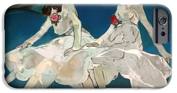 Sisters Drawings iPhone Cases - The Two Sisters iPhone Case by Francesc Gose