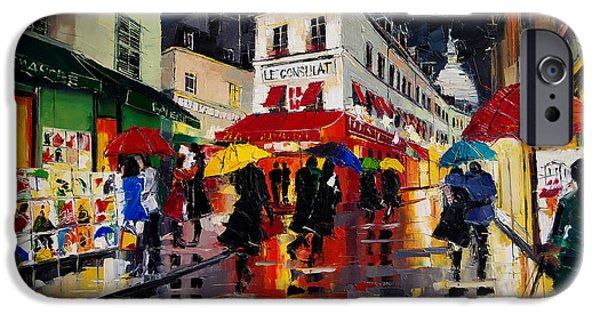 Board iPhone Cases - The Umbrellas Of Montmartre iPhone Case by Mona Edulesco