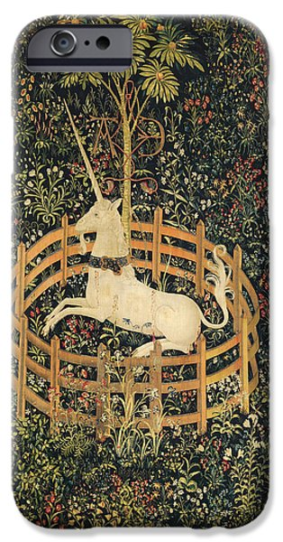 Silk Tapestries - Textiles iPhone Cases - The Unicorn in Captivity iPhone Case by Unknown