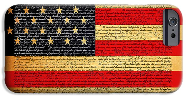July 4th Digital Art iPhone Cases - The United States Declaration of Independence - American Flag - square iPhone Case by Wingsdomain Art and Photography
