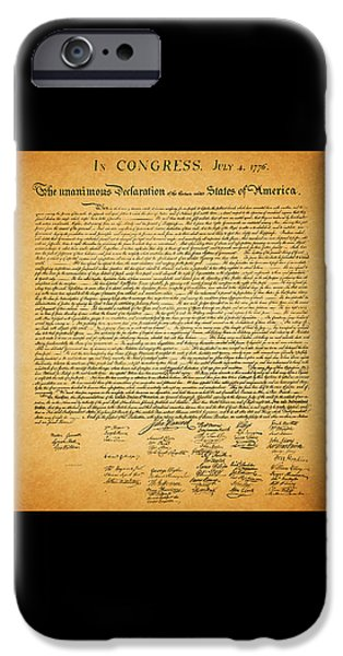 The United States Declaration of Independence - square black border iPhone Case by Wingsdomain Art and Photography