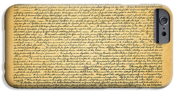 July 4th iPhone Cases - The United States Declaration of Independence - square iPhone Case by Wingsdomain Art and Photography