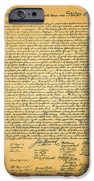 July 4th Digital Art iPhone Cases - The United States Declaration of Independence iPhone Case by Wingsdomain Art and Photography