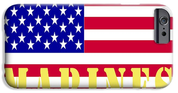 Old Glory iPhone Cases - The United States Marines iPhone Case by Barbara Snyder