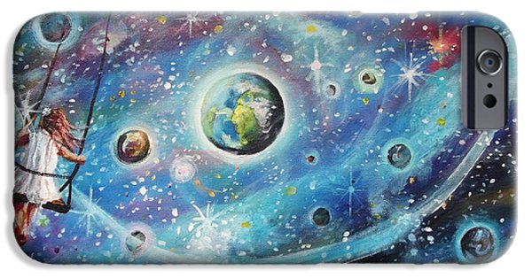 Intergalactic Space Paintings iPhone Cases - The Universe is my Playground iPhone Case by Dariusz Orszulik