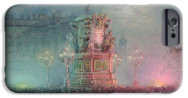 1796 iPhone Cases - The Unveiling of the Nicholas I Memorial in St. Petersburg iPhone Case by Vasili Semenovich Sadovnikov