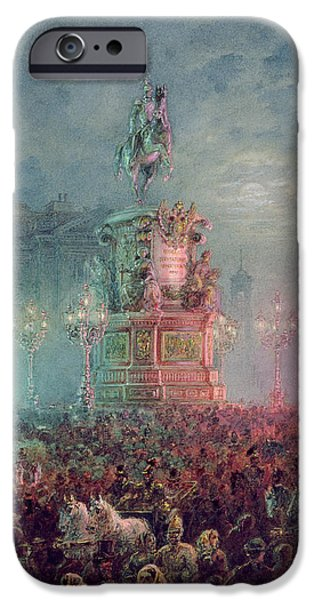 The Unveiling of the Nicholas I Memorial in St. Petersburg iPhone Case by Vasili Semenovich Sadovnikov