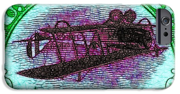 Collect Digital Art iPhone Cases - The Upside Down Biplane Stamp - 20130119 - v4 iPhone Case by Wingsdomain Art and Photography