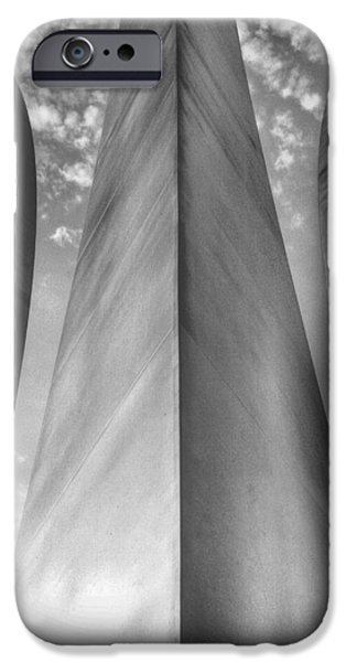 Vetran iPhone Cases - The USAF Memorial in Black and White iPhone Case by JC Findley