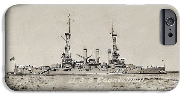 World War One iPhone Cases - The USS Connecticut Guantanamo Cuba 1915    iPhone Case by Helene Guertin