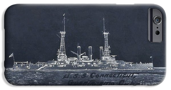 World War One iPhone Cases - The USS Connecticut iPhone Case by Helene Guertin
