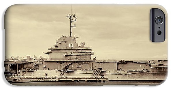Yorktown iPhone Cases - The USS Yorktown Aircraft Carrier in Sepia iPhone Case by Kathy Clark