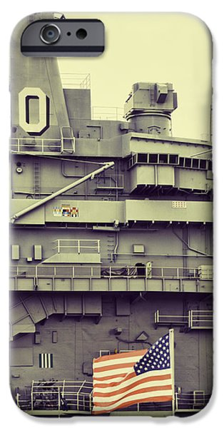 Yorktown Digital iPhone Cases - The USS Yorktown Aircraft Carrier in Split Toning Color iPhone Case by Kathy Clark