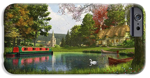 Swans... iPhone Cases - The Valley Cottage Variant 1 iPhone Case by Dominic Davison
