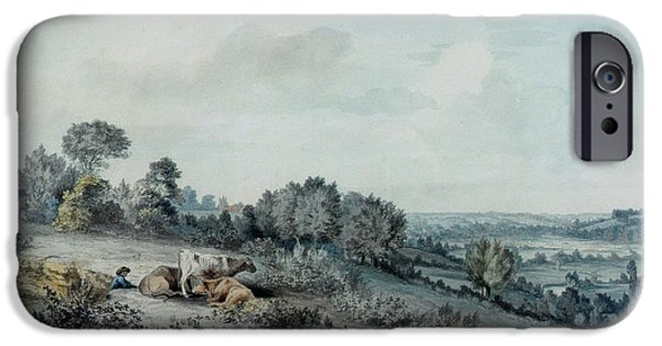 Village Photographs iPhone Cases - The Valley Of The Stour, Looking Towards East Bergholt, 1880 Pencil, Pen And Ink And Watercolour iPhone Case by John Constable