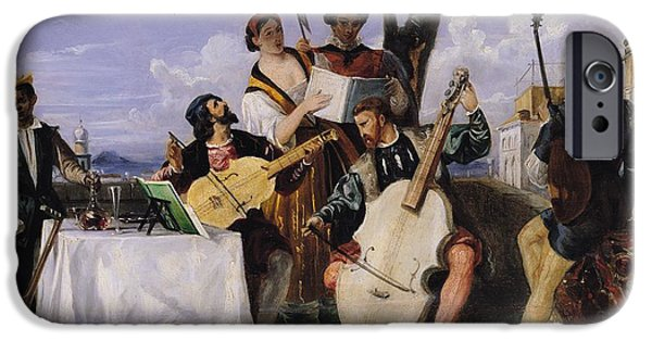 Lute iPhone Cases - The Venetian Concert Oil On Panel iPhone Case by Alexandre-Jean-Baptiste Hesse
