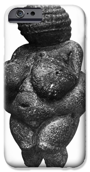 Figures iPhone Cases - The Venus Of Willendorf, Side View Of Female Figurine, Gravettian Culture, Upper Paleolithic iPhone Case by Prehistoric