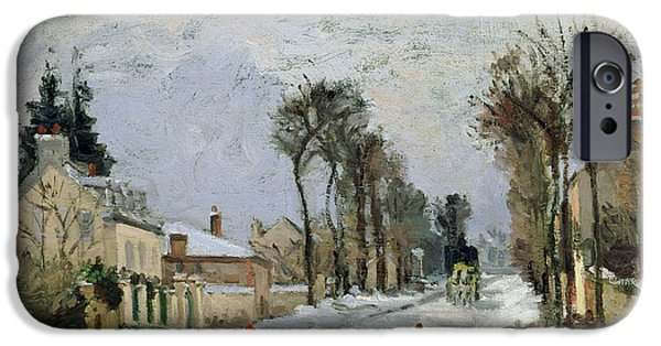 Town iPhone Cases - The Versailles Road at Louveciennes iPhone Case by Camille Pissarro