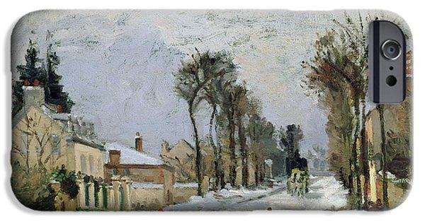 Camille Pissarro iPhone Cases - The Versailles Road at Louveciennes iPhone Case by Camille Pissarro