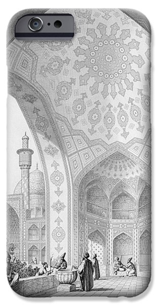 Architects Paintings iPhone Cases - The Vestibule of the Main Entrance of the Medrese i Shah-Hussein iPhone Case by Pascal Xavier Coste