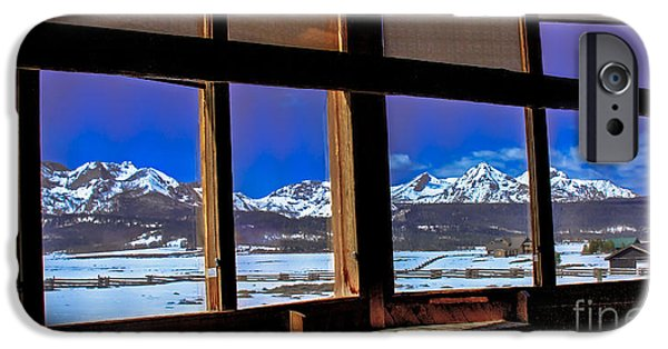 Haybale iPhone Cases - The View From The Sawtooth Valley Meditation Chapel iPhone Case by Robert Bales