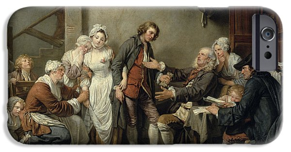 Chickens iPhone Cases - The Village Agreement, 1761 Oil On Canvas iPhone Case by Jean Baptiste Greuze