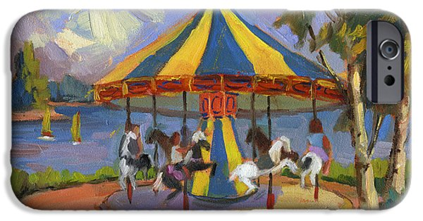 Carousel Horse Paintings iPhone Cases - The Village Carousel at Lake Arrowhead iPhone Case by Diane McClary