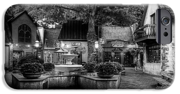 Gatlinburg iPhone Cases - The Village of Gatlinburg in Black and White iPhone Case by Greg and Chrystal Mimbs