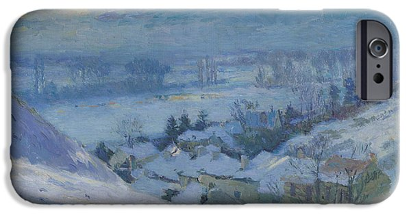 Snowy Night Paintings iPhone Cases - The Village of Herblay under snow iPhone Case by Albert-Charles Lebourg
