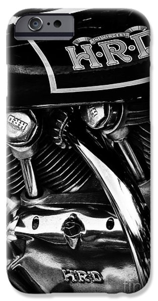 Culture iPhone Cases - The Vincent HRD Motorcycle Monochrome iPhone Case by Tim Gainey