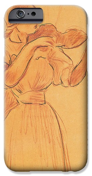 Pastel Drawings iPhone Cases - The Violin iPhone Case by Berthe Morisot