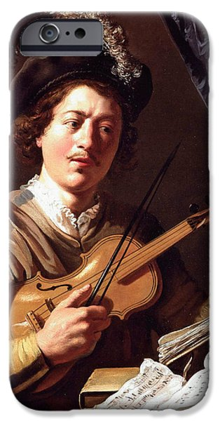 Lieven iPhone Cases - The Violin Player iPhone Case by Jan Lievens