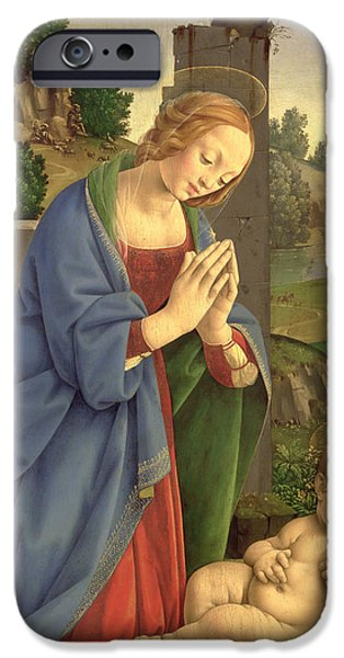Veiled iPhone Cases - The Virgin Adoring The Child, 1490-1500 Oil On Wood iPhone Case by Lorenzo di Credi