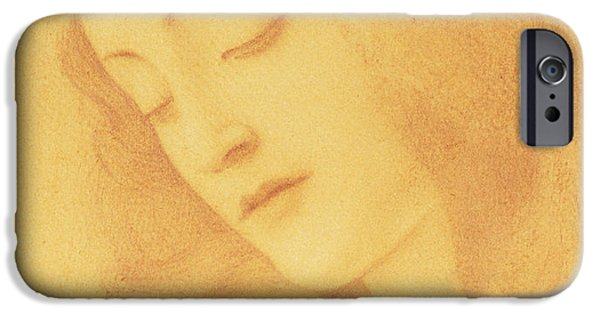Female Drawings iPhone Cases - The Virgin after Botticelli iPhone Case by Fernand Khnopff