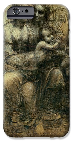 Jesus Drawings iPhone Cases - The Virgin And Child  iPhone Case by Leonardo Da Vinci