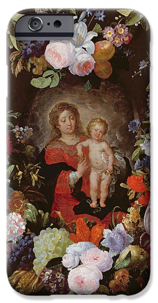 Wreath iPhone Cases - The Virgin And Child With A Garland Of Flowers Oil On Panel iPhone Case by Gerard Seghers