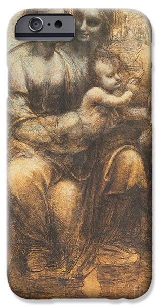 Young iPhone Cases - The Virgin and Child with Saint Anne and the Infant Saint John the Baptist iPhone Case by Leonardo Da Vinci