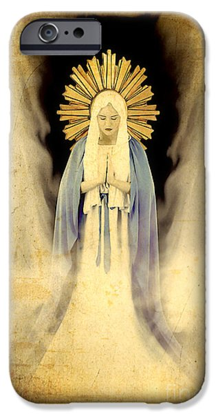 Religious Photographs iPhone Cases - The Virgin Mary Gratia plena iPhone Case by Cinema Photography