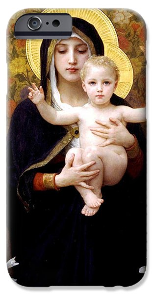 Religious Digital iPhone Cases - The Virgin of the Lilies iPhone Case by William Bouguereau