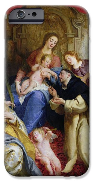 Cherub iPhone Cases - The Virgin Offering The Rosary To St. Dominic, 1641 Oil On Canvas iPhone Case by Gaspar de Crayer