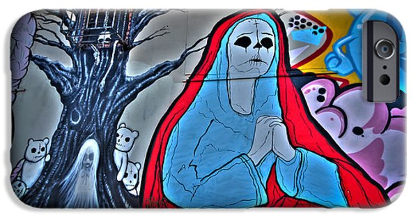 Paint iPhone Cases - The Virgin Skeleton Adoring iPhone Case by Andres Leon